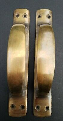 "2 Antique Solid Brass Large Strong Gate Cabinet Trunk Chest Handles 6-3/8""w #P18"