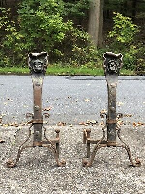 Pair ANTIQUE Monk Head Andirons ARTS & CRAFTS MOVEMENT Bronze Wrought Iron 1910s