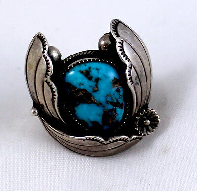 Fabulous Loren Begay Collectible Ring Natural Turquoise Foliate Leaves Sz 7-1/4
