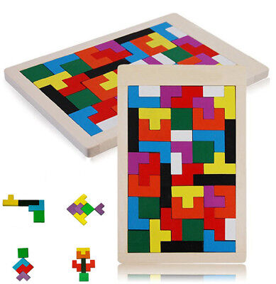 Kid Children Wooden Tangram Brain Teaser Puzzle Toys Tetris Game Development Toy