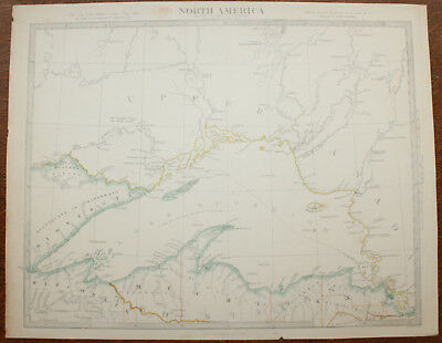 1852 LAKE SUPERIOR Original Antique MAP Charles Knight North AMERICA USA