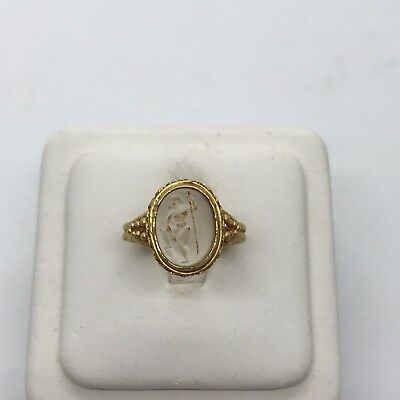 Ancient antique 24k yellow gold rock crystal carved intaglio Roman figure ring