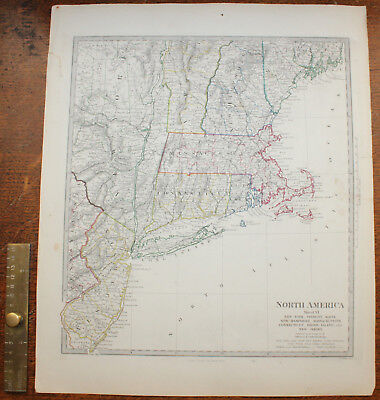 1853 New York Vermont Maine New Hampshire Jersey Original Antique MAP George Cox