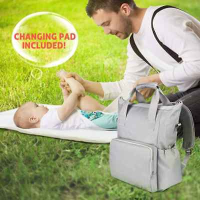 Mummy Baby Changing Bag Nappy Diaper Wipe Clean Maternity Backpack Bag Dark Grey