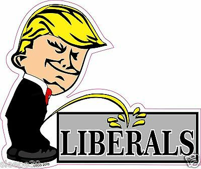 Donald Trump President Calvin Pee On LIBERALS Funny Decal Sticker