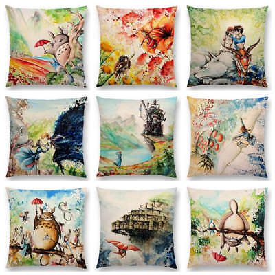 Works Watercolor Totoro Howl's Moving Castle Spirited Away Castle Cushion Cover