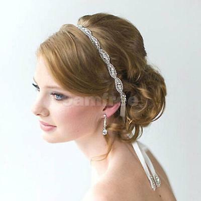 Faux Crystal Diamonte Bling Wedding Bridal hair Accessories Sash Tiara Headband