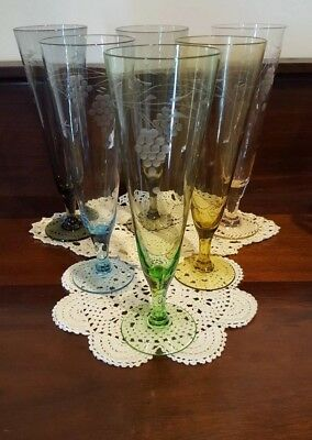 6 Mid Century Harlequin Champagne Flutes Etched Glass