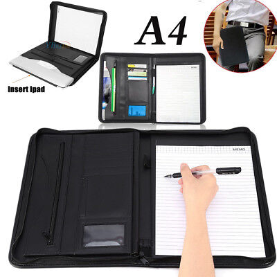 Black A4 Zipped PU Leather Executive Conference Folder Organiser Portfolio Bag