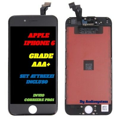Touch Screen Frame Vetro Lcd Display Retina Per Apple Iphone 6 Nero A1549 A1586