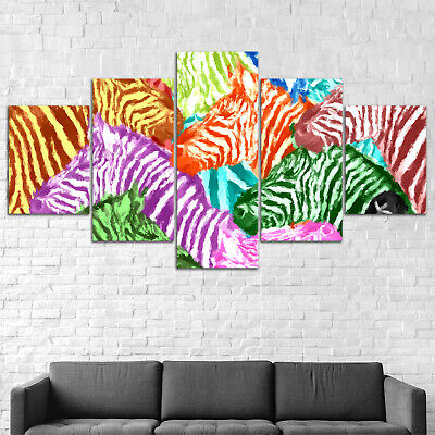Abstract Zebra Animal Canvas Print Painting Framed Home Decor Wall Art Poster 5P