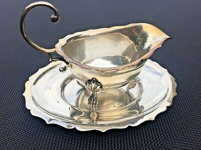 Antique Silver Plated Sauce Jug and Oval liner