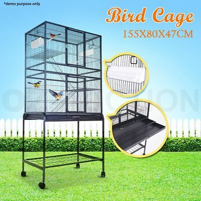 155cm Pet Bird Cage Parrot Aviary Stand-alone Budgie Perch Castor Wheels Large