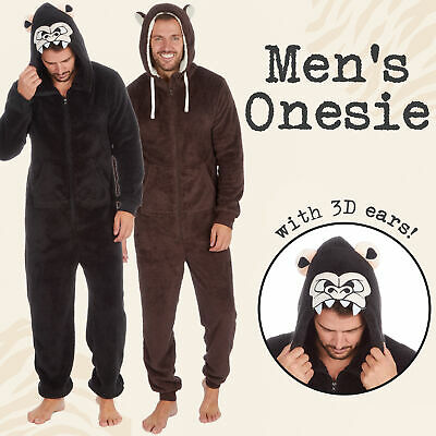 Adult Mens 1Onesie Animal Hoooded Novelty Boys All in One PJs One Piece Pyjama