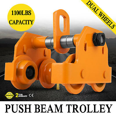 1/2 Ton Push Beam Track Roller Trolley I-Beam Track Solid Steel Capacity 1100Lbs