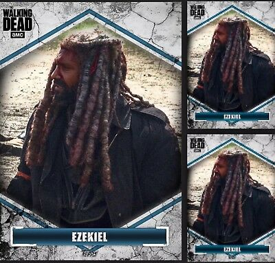 3x Topps WALKING DEAD DIGITAL Card Trader BROKEN Wave 3 BLUE EZEKIEL