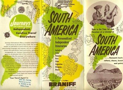 Braniff International South America Brochure 1953 DC-6 Journey Tours