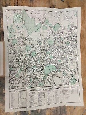 VINTAGE Street PLAN FOLD OUT LINEN MAP HARROW AND DISTRICT