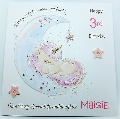 Personalised Unicorn Birthday Card Granddaughter Daughter Niece Any Age