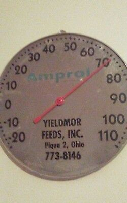 Old PIQUA OHIO Metal Wall Advertising Thermometer Yieldmor Feeds Amprol No glass