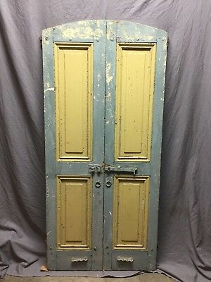 Antique Pair Arched Dome Top Panelled Shutters Shabby Vintage Chic 16X66 245-18C