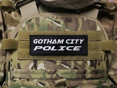 2x6 GOTHAM CITY POLICE Plate Carrier Morale Patch Batman Cosplay Hook backed
