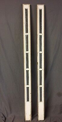 Pair Antique Florentine Privacy Glass Door Sidelites Vintage Old 5X77 246-18C