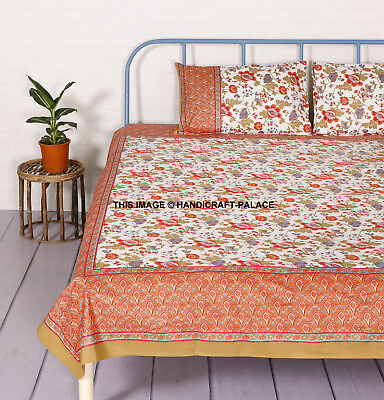 Printed Bedding Set Fitted Sheet Bed Cover Pillowcases Cotton Bedclothes Home