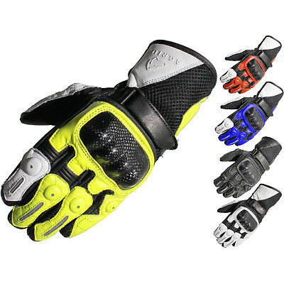 Agrius Ambush Leather Motorcycle Gloves Motorbike Short Vented Sports Race Bike