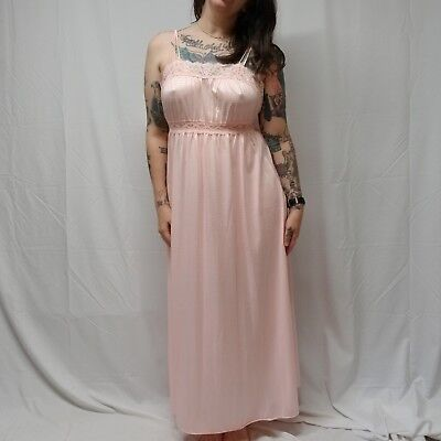 Vtg 70s/80s MISS ELAINE Long Pink Empire Waist Nylon & Lace Negligee Womens L