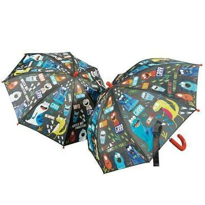 Floss & Rock Monsters Bright Graphics Colour Changing Black Kids Umbrella Brolly