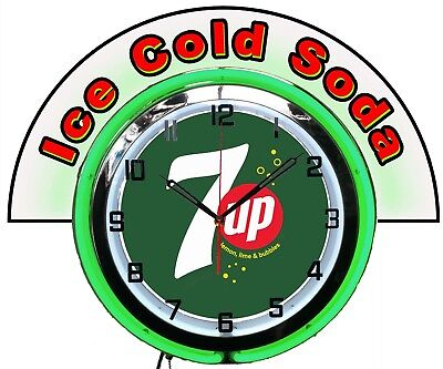 """7 UP Bubbles Green w/ Ice Cold Soda Marquee 19"""" Green Neon Clock Mancave Bar"""