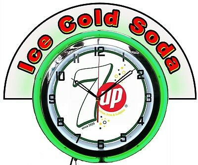 """7 UP Bubbles White w/ Ice Cold Soda Marquee 19"""" Green Neon Clock Mancave Bar"""