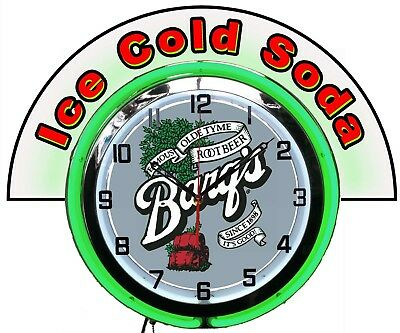 """Barq's Root Beer w/ Ice Cold Soda Marquee 19"""" Green Neon Clock Mancave Bar"""