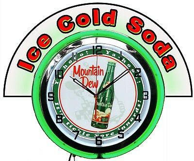 """Mountain Dew Bottle w/ Ice Cold Soda Marquee 19"""" Green Neon Clock Mancave"""