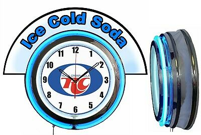 """RC Royal Crown Cola w/ Ice Cold Soda Marquee 19"""" Blue Neon Clock Mancave"""