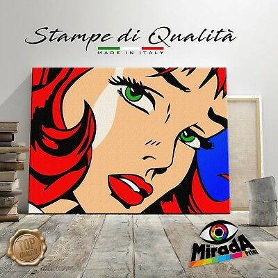 Roy Lichtenstein girl QUADRO STAMPA SU TELA CANVAS ARTE ARREDAMENTO POP ART