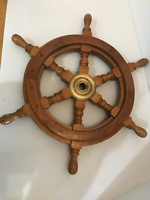 """Authentic Boat Ships Captains Nautical Ship Wheel 18"""" Wooden Steering Wheel"""