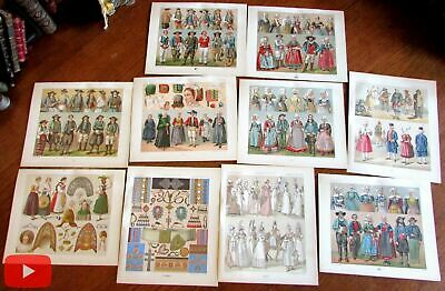 France French Costumes Dress Clothing 1880's Racinet lot x 10 prints colorful