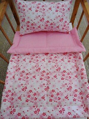Pink Flowers Doll Bedding Set 2 Piece Doll Blanket Doll Pillow Handmade NEW