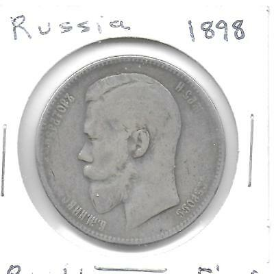 Russia 1898 Rouble Silver Coin Y-59.3 Toned Fine+