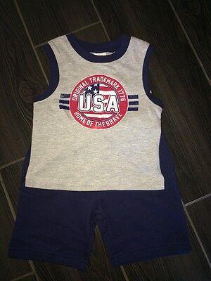 DG BABY Boys Size 12 Mo Sleeveless Patriotic USA Shirt  & Pull On Shorts Outfit