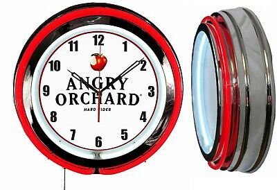 """19"""" Angry Orchard Beer RED Neon Clock Mancave Garage Bar"""