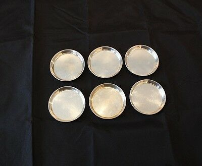 6 VTG Hand Made Carl Poul Petersen Canadian Sterling Silver Coasters Dishes
