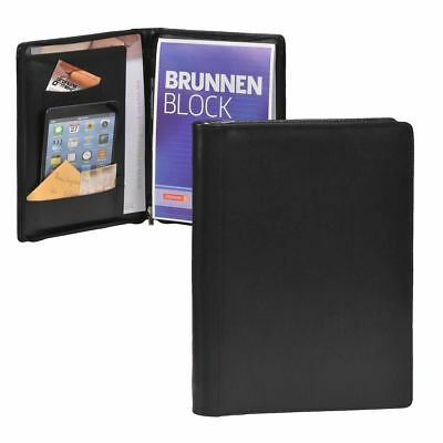 Esquire Writing Case A4 Leather Black Zip Conference Folder