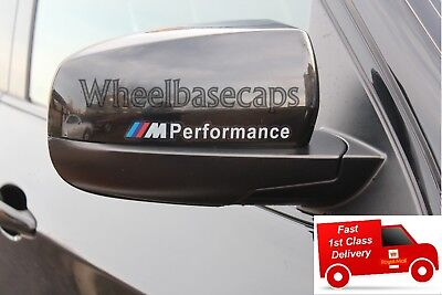 For 2x BMW M Performance White Wing Mirror Vinyl Decal Stickers Sport Badge