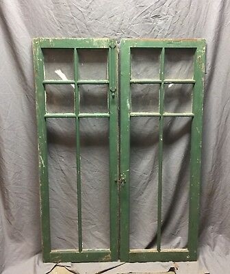 Pair Antique 6 Lite Casement Door Window Cabinet 19x52 Vintage Old 249-18C