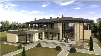 Modern House Plan Building Plans Blueprints & Material List