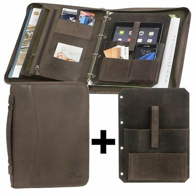 Conference Folder A4 Leather Dark Brown Writing Case+Tablet-Einleger
