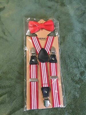 Bow Tie And Suspenders Jierko Kids Set Red And White